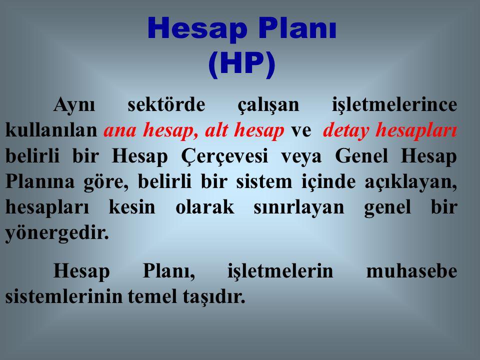 Genel Hesap Planı (GHP) Aynı sektörde çalışan işletmelerince kullanılan ana hesap ve alt hesapları belirli bir Hesap Çerçevesine göre, belirli bir sis