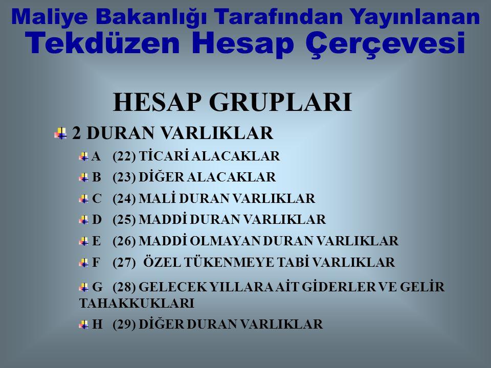 HESAP GRUPLARI 1 DÖNEN VARLIKLAR A (10) HAZIR DEĞERLER B (11) MENKUL KIYMETLER C (12) TİCARİ ALACAKLAR D (13) DİĞER ALACAKLAR E (15) STOKLAR F (17) YI