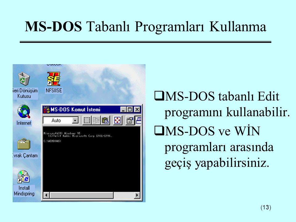 (13) MS-DOS Tabanlı Programları Kullanma  MS-DOS tabanlı Edit programını kullanabilir.  MS-DOS ve WİN programları arasında geçiş yapabilirsiniz.