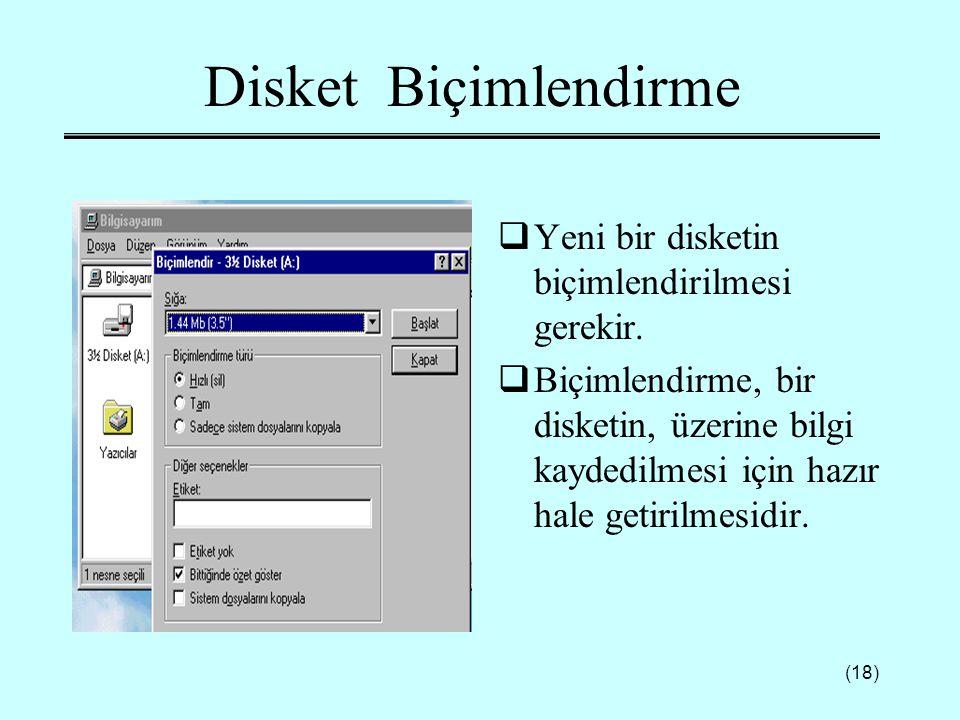 (18) Disket Biçimlendirme  Yeni bir disketin biçimlendirilmesi gerekir.  Biçimlendirme, bir disketin, üzerine bilgi kaydedilmesi için hazır hale get