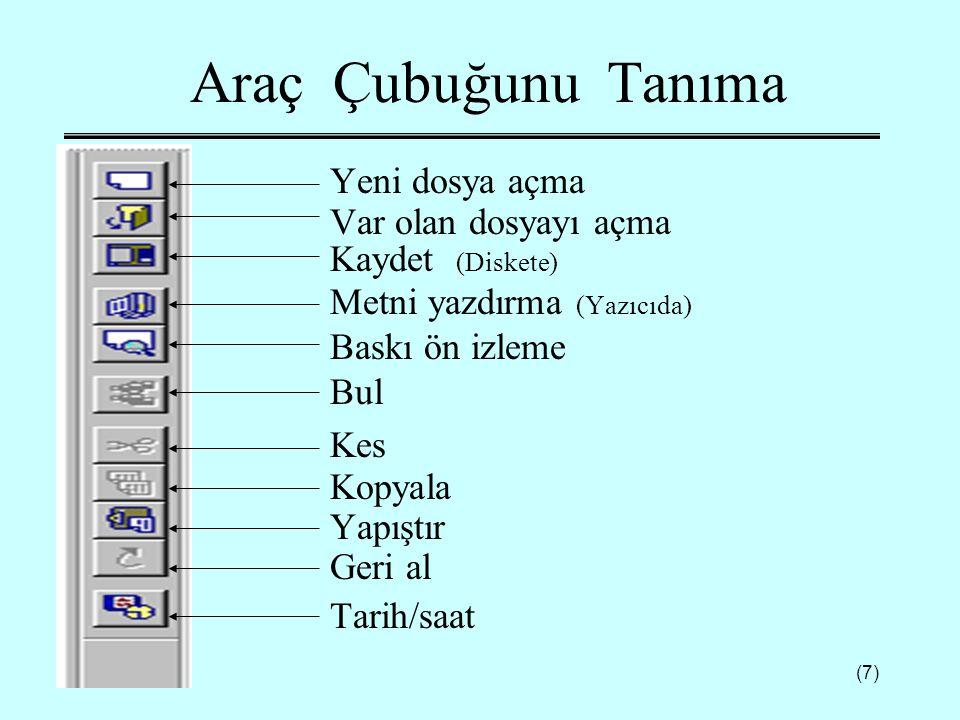 (18) Disket Biçimlendirme  Yeni bir disketin biçimlendirilmesi gerekir.