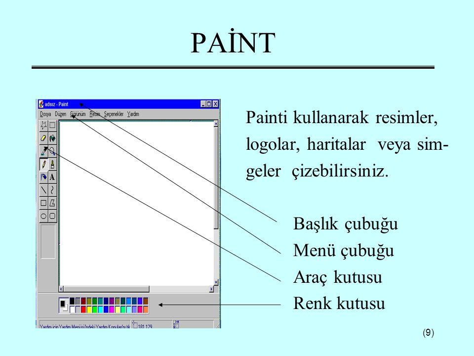 (9) PAİNT Painti kullanarak resimler, logolar, haritalar veya sim- geler çizebilirsiniz. Başlık çubuğu Menü çubuğu Araç kutusu Renk kutusu