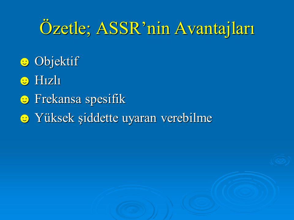 ASSR'nin Dezavantajları ☻ Normal işiten bebeklerde kemik yolu iletiminin bilgileri yoktur.