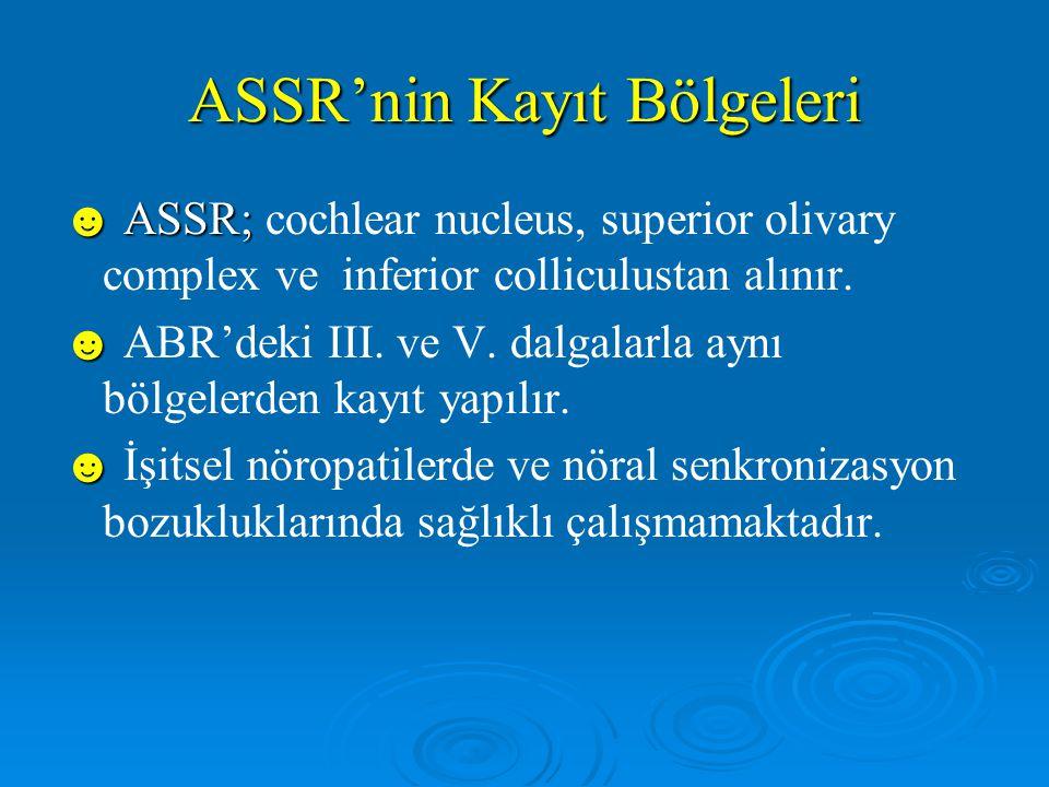 Özetle; ASSR'nin Avantajları ☻ Objektif ☻ Hızlı ☻ Frekansa spesifik ☻ Yüksek şiddette uyaran verebilme