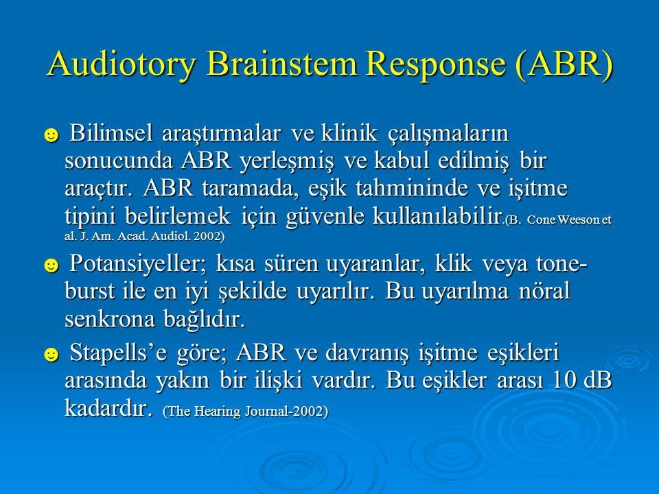 Audiotory Brainstem Response (ABR) ☻ Bilimsel araştırmalar ve klinik çalışmaların sonucunda ABR yerleşmiş ve kabul edilmiş bir araçtır.
