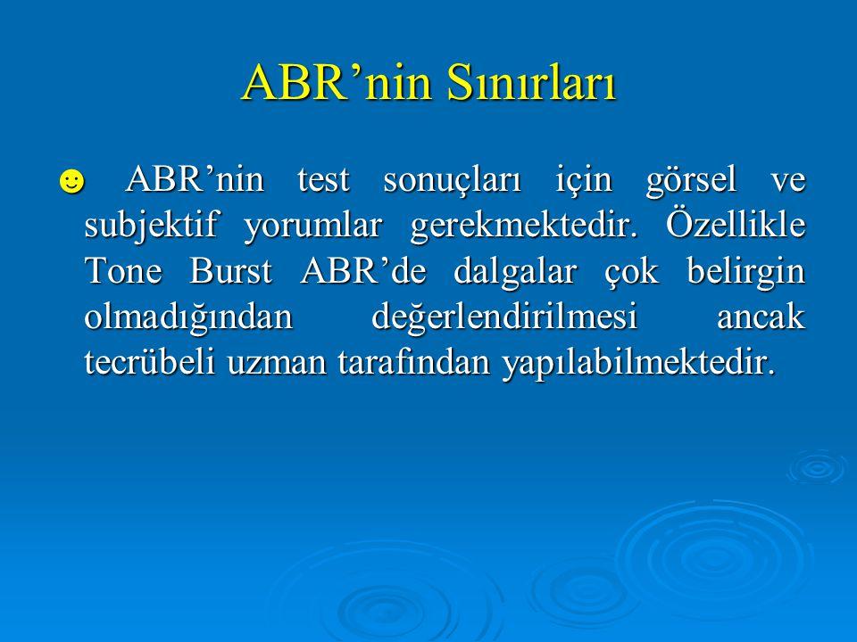 ABR'nin Sınırları ☻ Kısa süreli uyarılar kullanıldığından dolayı; ☻ Klik ABR'de ayrı ayrı frekanslarda uyarı yapılamamaktadır.