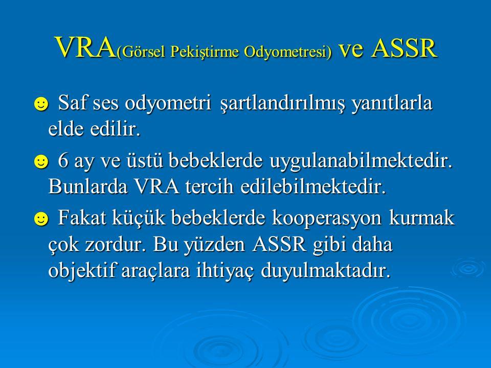 VRA (Görsel Pekiştirme Odyometresi) ve ASSR ☻ Saf ses odyometri şartlandırılmış yanıtlarla elde edilir.