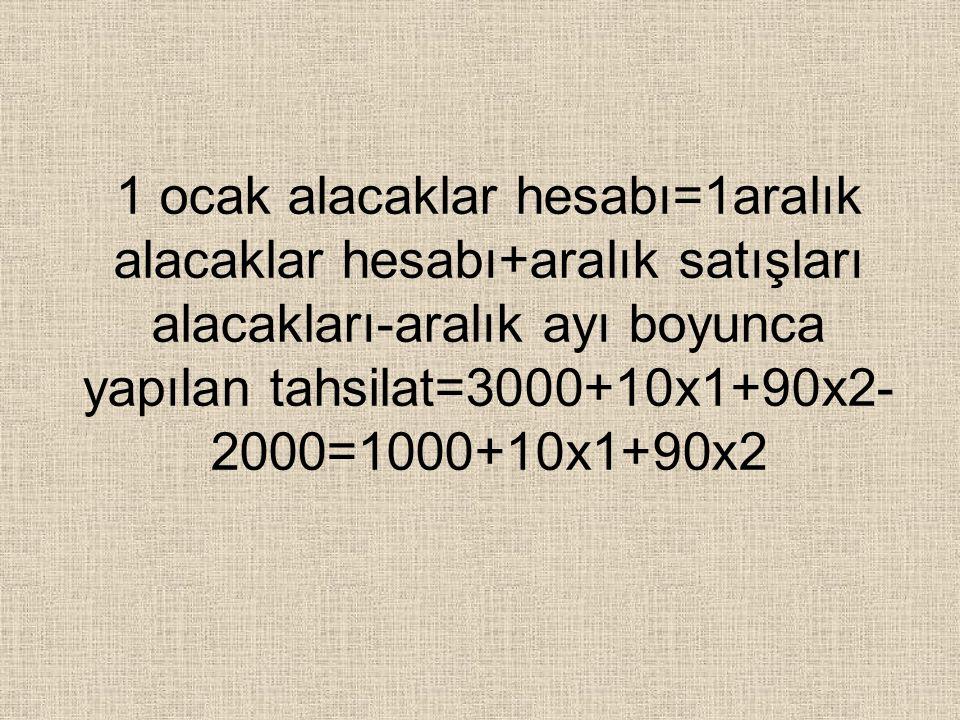 1ocak stok mevcudu=1aralık stok mevcudu-aralık boyunca kullanılan stoklar+10cak dönem başı stok miktarı =7000-(30x1+40x2)+2000=9000- 30x1-40x2
