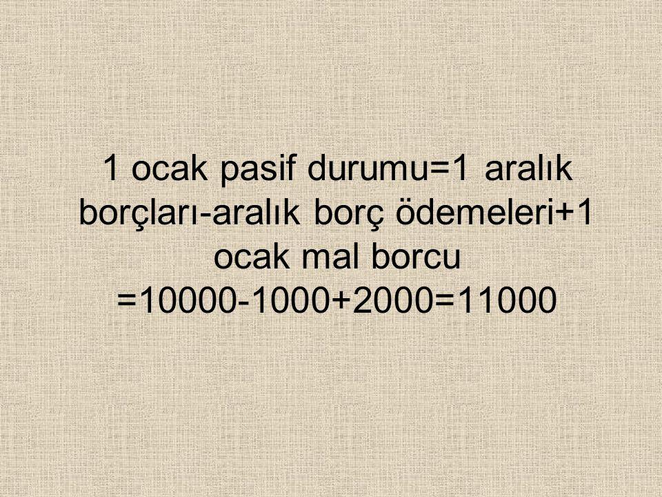 1 ocak pasif durumu=1 aralık borçları-aralık borç ödemeleri+1 ocak mal borcu =10000-1000+2000=11000