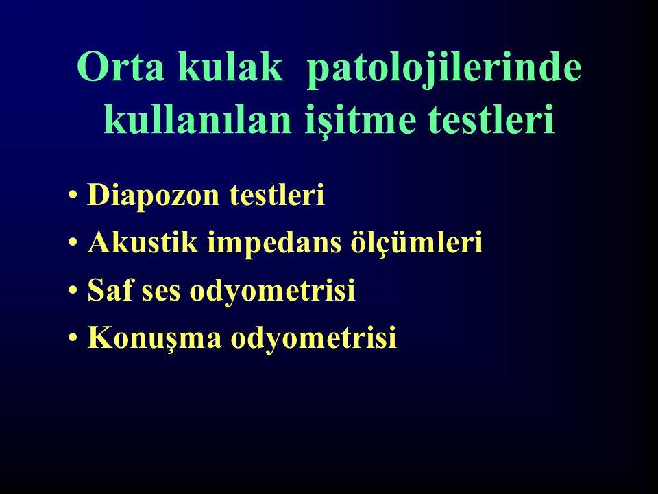 Orta kulak patolojilerinde kullanılan işitme testleri Diapozon testleri Akustik impedans ölçümleri Saf ses odyometrisi Konuşma odyometrisi