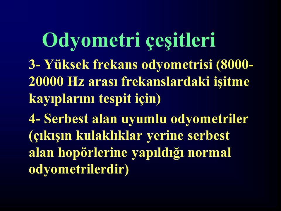 Odyometri çeşitleri 3- Yüksek frekans odyometrisi (8000- 20000 Hz arası frekanslardaki işitme kayıplarını tespit için) 4- Serbest alan uyumlu odyometr