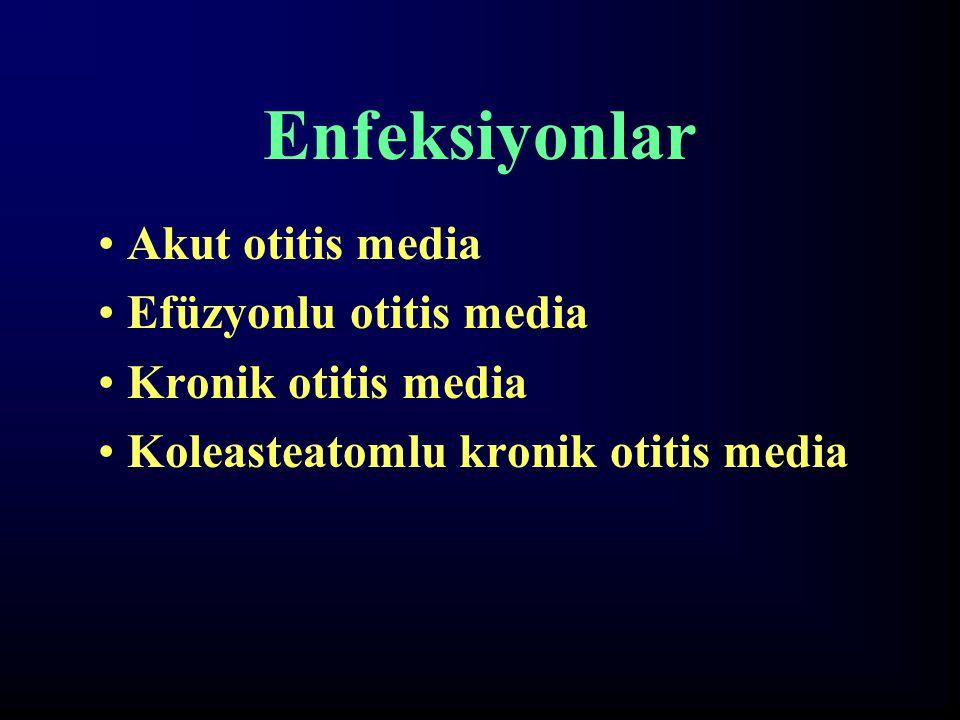 Enfeksiyonlar Akut otitis media Efüzyonlu otitis media Kronik otitis media Koleasteatomlu kronik otitis media