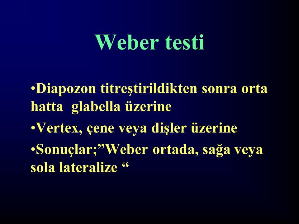 """Weber testi Diapozon titreştirildikten sonra orta hatta glabella üzerine Vertex, çene veya dişler üzerine Sonuçlar;""""Weber ortada, sağa veya sola later"""