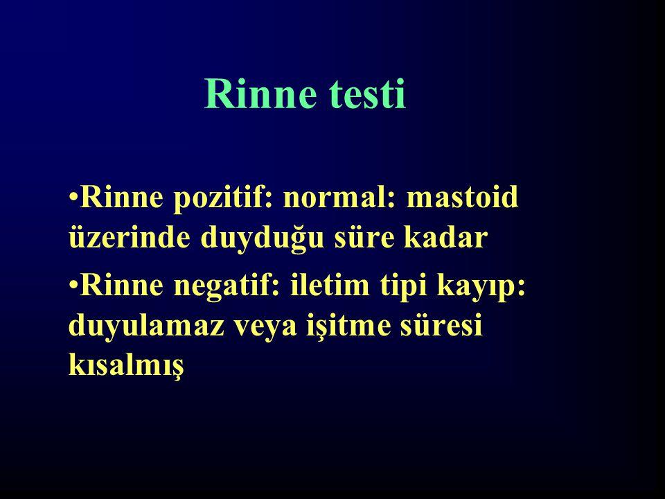 Rinne testi Rinne pozitif: normal: mastoid üzerinde duyduğu süre kadar Rinne negatif: iletim tipi kayıp: duyulamaz veya işitme süresi kısalmış