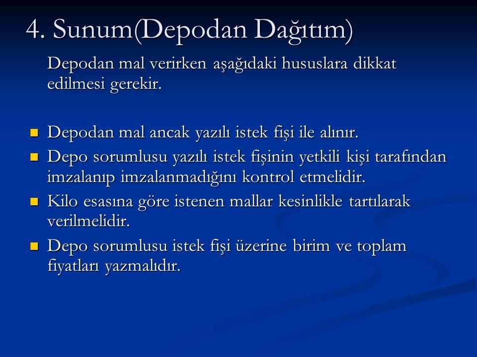 4. Sunum(Depodan Dağıtım) Depodan mal verirken aşağıdaki hususlara dikkat edilmesi gerekir. Depodan mal ancak yazılı istek fişi ile alınır. Depodan ma