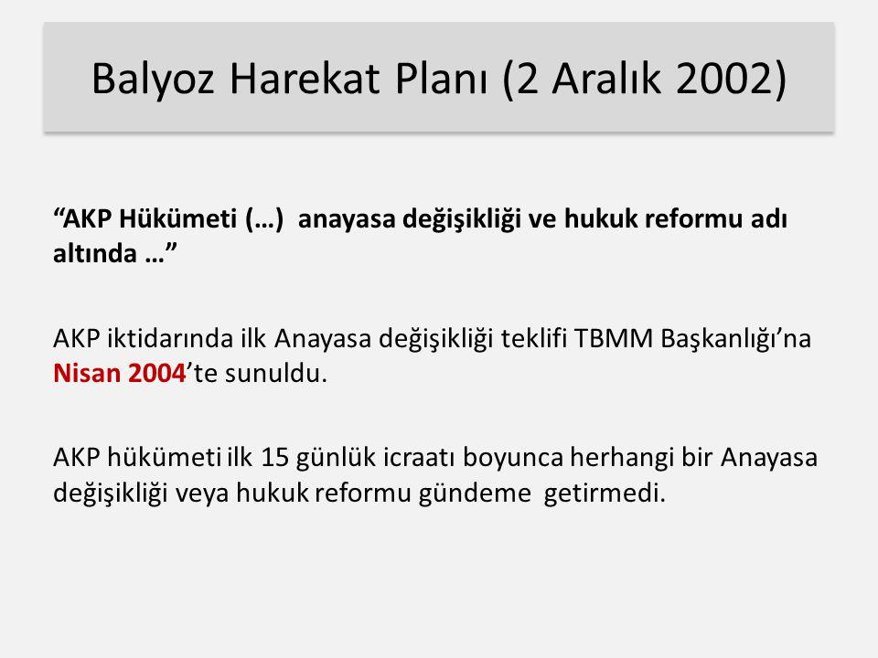 Balyoz Harekat Planı (2 Aralık 2002) AKP Hükümeti (…) anayasa değişikliği ve hukuk reformu adı altında … AKP iktidarında ilk Anayasa değişikliği teklifi TBMM Başkanlığı'na Nisan 2004'te sunuldu.