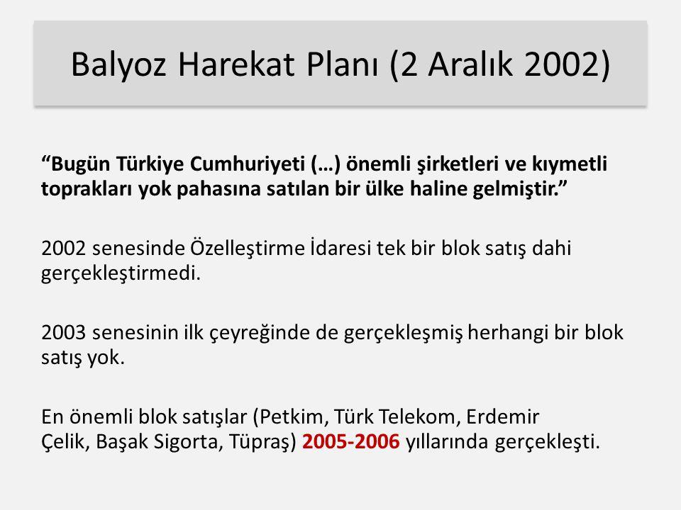 Balyoz Harekat Planı (2 Aralık 2002) Bugün Türkiye Cumhuriyeti (…) önemli şirketleri ve kıymetli toprakları yok pahasına satılan bir ülke haline gelmiştir. 2002 senesinde Özelleştirme İdaresi tek bir blok satış dahi gerçekleştirmedi.
