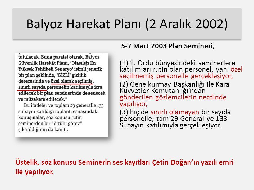Balyoz Harekat Planı (2 Aralık 2002) 5-7 Mart 2003 Plan Semineri, (1) 1.