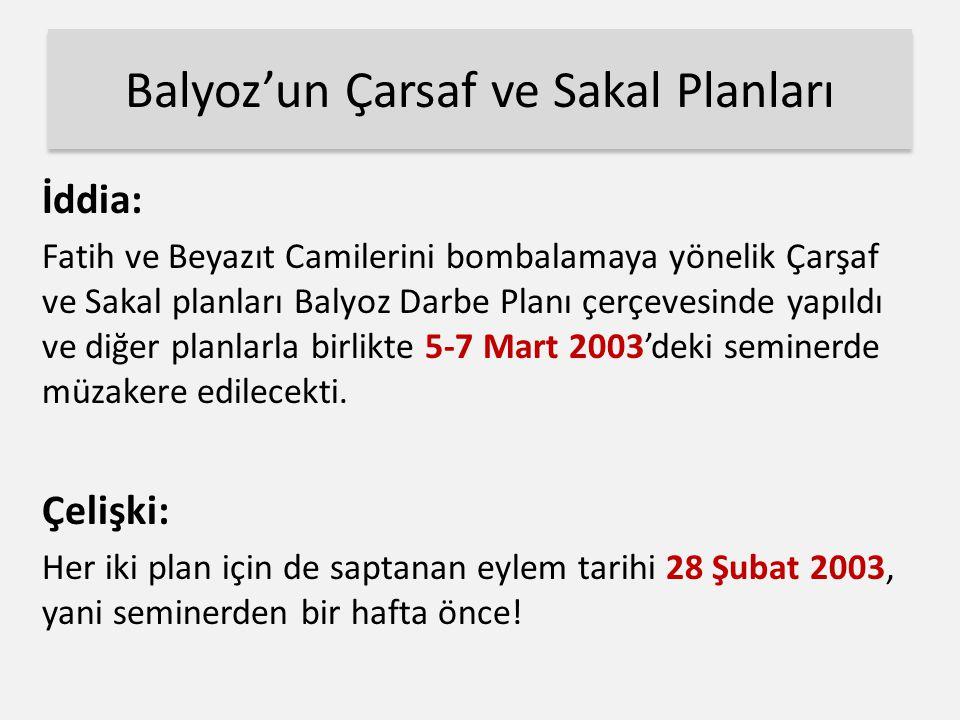 Balyoz'un Çarsaf ve Sakal Planları İddia: Fatih ve Beyazıt Camilerini bombalamaya yönelik Çarşaf ve Sakal planları Balyoz Darbe Planı çerçevesinde yapıldı ve diğer planlarla birlikte 5-7 Mart 2003'deki seminerde müzakere edilecekti.