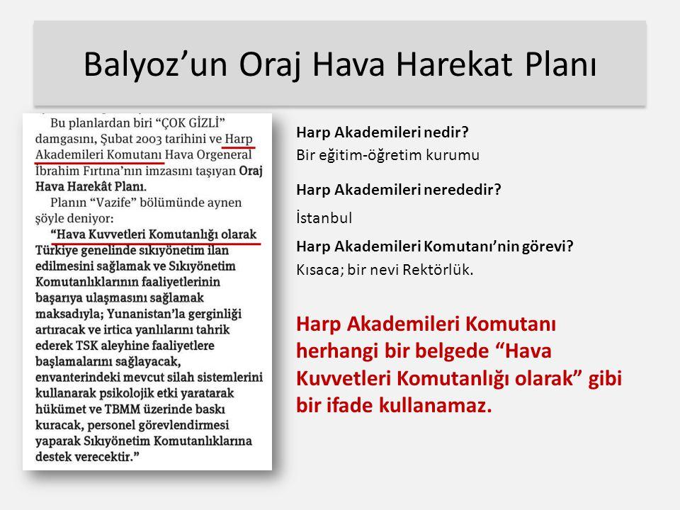 Balyoz'un Oraj Hava Harekat Planı Harp Akademileri nerededir.