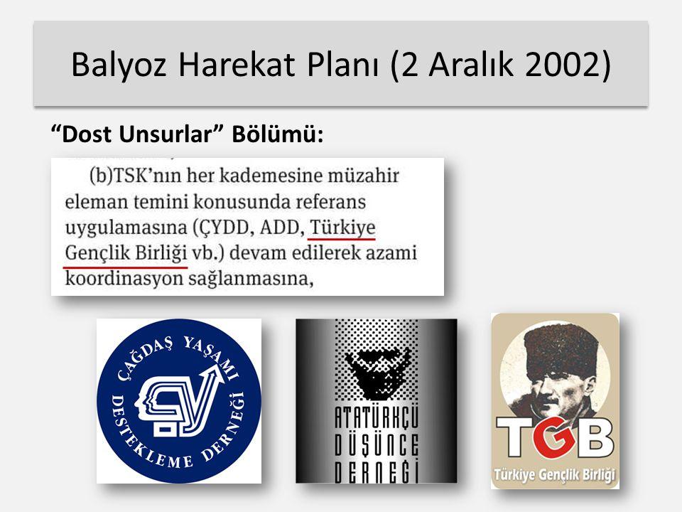 Balyoz Harekat Planı (2 Aralık 2002) Dost Unsurlar Bölümü:
