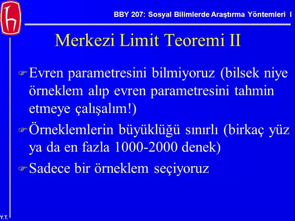 BBY 207: Sosyal Bilimlerde Araştırma Yöntemleri I Y.T. Merkezi Limit Teoremi II  Evren parametresini bilmiyoruz (bilsek niye örneklem alıp evren para