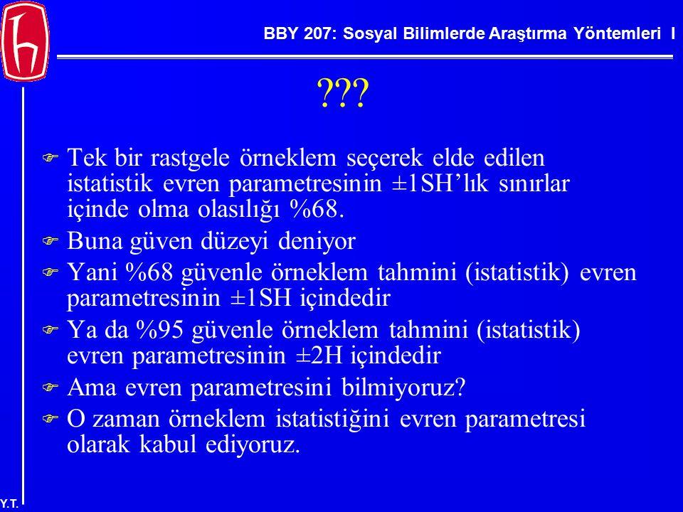 BBY 207: Sosyal Bilimlerde Araştırma Yöntemleri I Y.T. ???  Tek bir rastgele örneklem seçerek elde edilen istatistik evren parametresinin ±1SH'lık sı