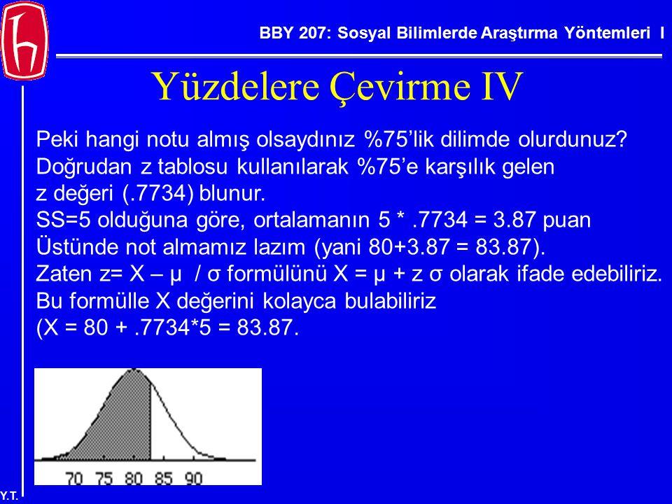 BBY 207: Sosyal Bilimlerde Araştırma Yöntemleri I Y.T. Yüzdelere Çevirme IV Peki hangi notu almış olsaydınız %75'lik dilimde olurdunuz? Doğrudan z tab
