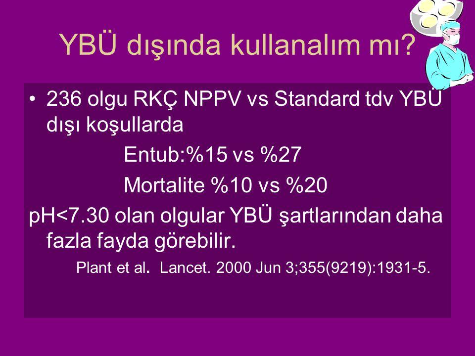 YBÜ dışında kullanalım mı? 236 olgu RKÇ NPPV vs Standard tdv YBÜ dışı koşullarda Entub:%15 vs %27 Mortalite %10 vs %20 pH<7.30 olan olgular YBÜ şartla
