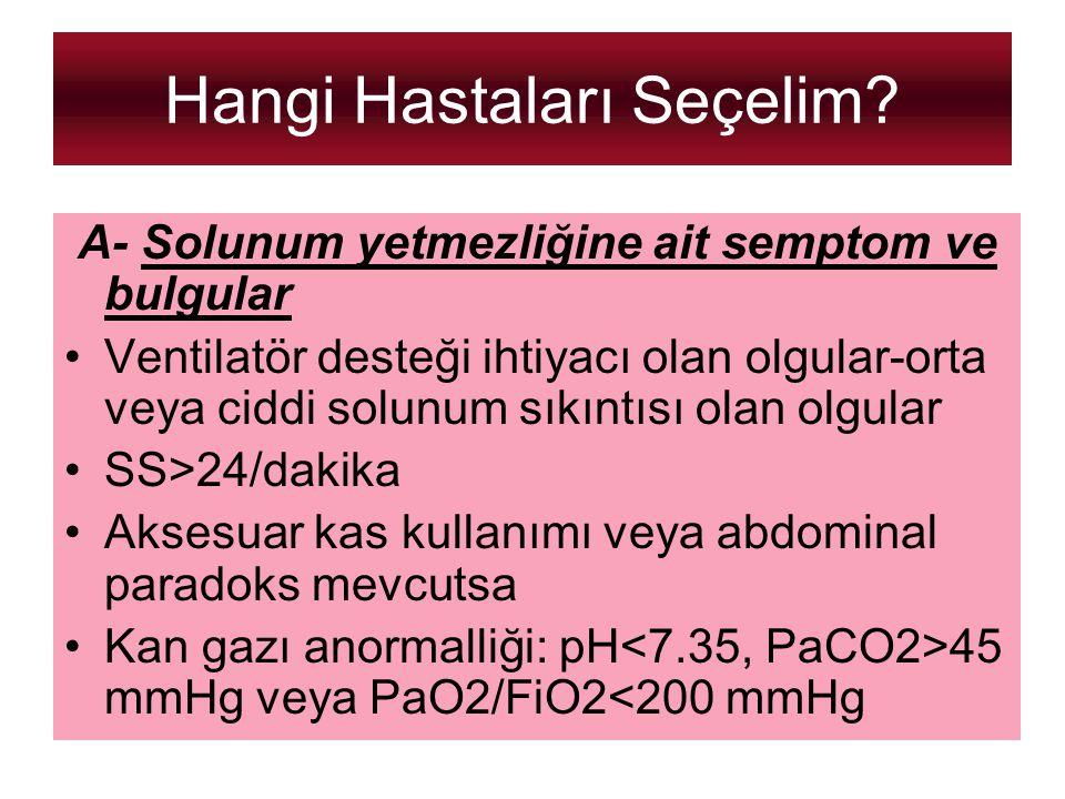 Hangi Hastaları Seçelim? A- Solunum yetmezliğine ait semptom ve bulgular Ventilatör desteği ihtiyacı olan olgular-orta veya ciddi solunum sıkıntısı ol