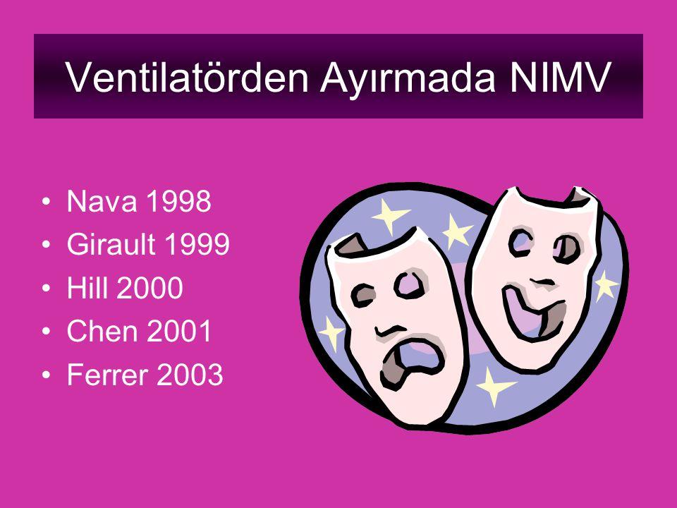 Ventilatörden Ayırmada NIMV Nava 1998 Girault 1999 Hill 2000 Chen 2001 Ferrer 2003