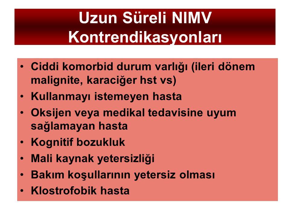 Uzun Süreli NIMV Kontrendikasyonları Ciddi komorbid durum varlığı (ileri dönem malignite, karaciğer hst vs) Kullanmayı istemeyen hasta Oksijen veya me