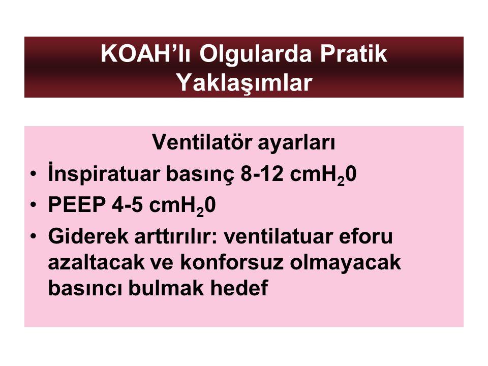KOAH'lı Olgularda Pratik Yaklaşımlar Ventilatör ayarları İnspiratuar basınç 8-12 cmH 2 0 PEEP 4-5 cmH 2 0 Giderek arttırılır: ventilatuar eforu azalta