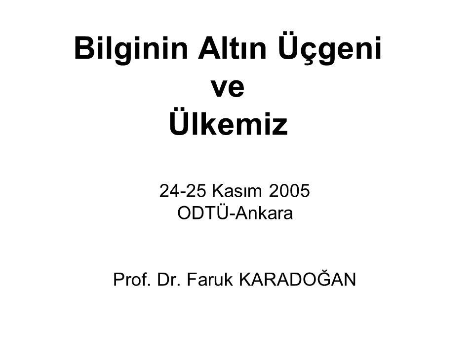 Bilginin Altın Üçgeni ve Ülkemiz 24-25 Kasım 2005 ODTÜ-Ankara Prof. Dr. Faruk KARADOĞAN