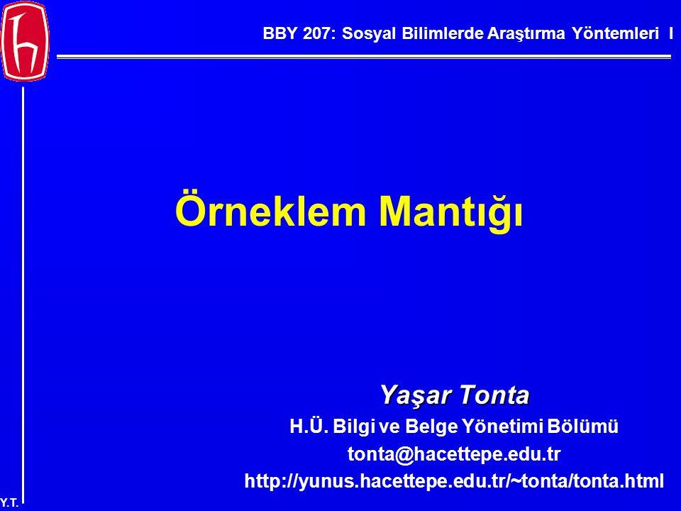 BBY 207: Sosyal Bilimlerde Araştırma Yöntemleri I Y.T. Örneklem Mantığı Yaşar Tonta H.Ü. Bilgi ve Belge Yönetimi Bölümü tonta@hacettepe.edu.tr http://
