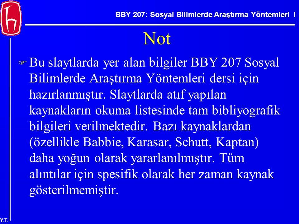 BBY 207: Sosyal Bilimlerde Araştırma Yöntemleri I Y.T. Not  Bu slaytlarda yer alan bilgiler BBY 207 Sosyal Bilimlerde Araştırma Yöntemleri dersi için