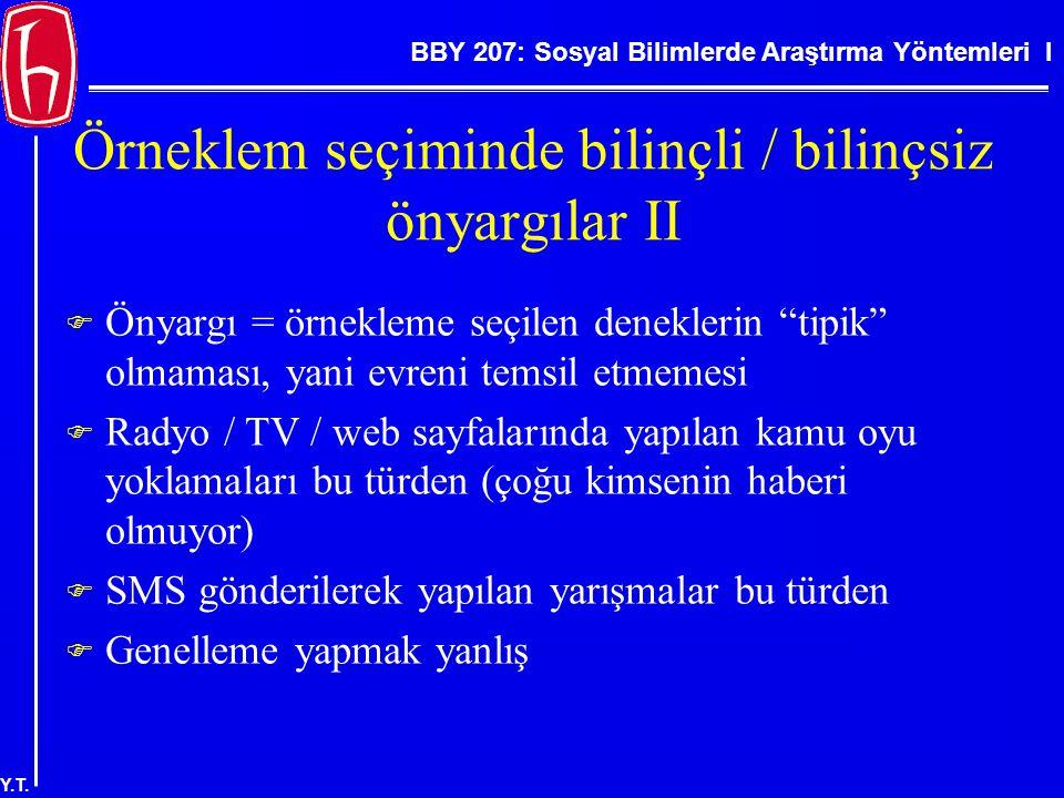 BBY 207: Sosyal Bilimlerde Araştırma Yöntemleri I Y.T. Örneklem seçiminde bilinçli / bilinçsiz önyargılar II  Önyargı = örnekleme seçilen deneklerin