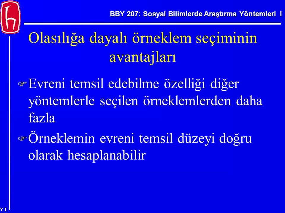 BBY 207: Sosyal Bilimlerde Araştırma Yöntemleri I Y.T. Olasılığa dayalı örneklem seçiminin avantajları  Evreni temsil edebilme özelliği diğer yönteml