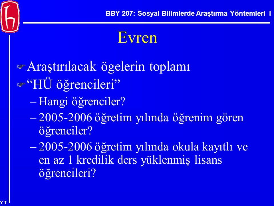 """BBY 207: Sosyal Bilimlerde Araştırma Yöntemleri I Y.T. Evren  Araştırılacak ögelerin toplamı  """"HÜ öğrencileri"""" –Hangi öğrenciler? –2005-2006 öğretim"""