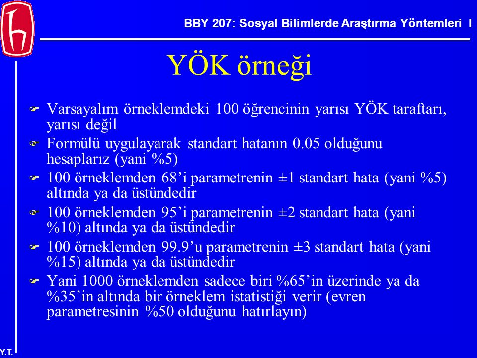 BBY 207: Sosyal Bilimlerde Araştırma Yöntemleri I Y.T. YÖK örneği  Varsayalım örneklemdeki 100 öğrencinin yarısı YÖK taraftarı, yarısı değil  Formül