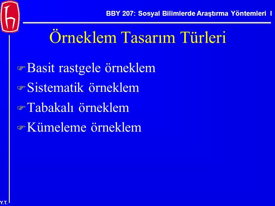 BBY 207: Sosyal Bilimlerde Araştırma Yöntemleri I Y.T. Örneklem Tasarım Türleri  Basit rastgele örneklem  Sistematik örneklem  Tabakalı örneklem 