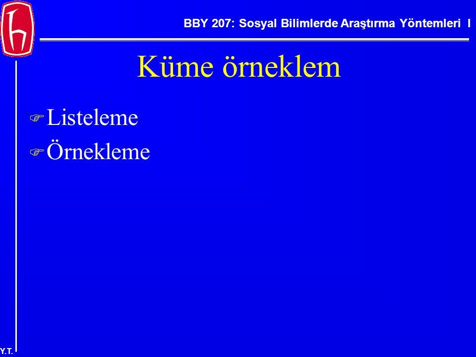BBY 207: Sosyal Bilimlerde Araştırma Yöntemleri I Y.T. Küme örneklem  Listeleme  Örnekleme