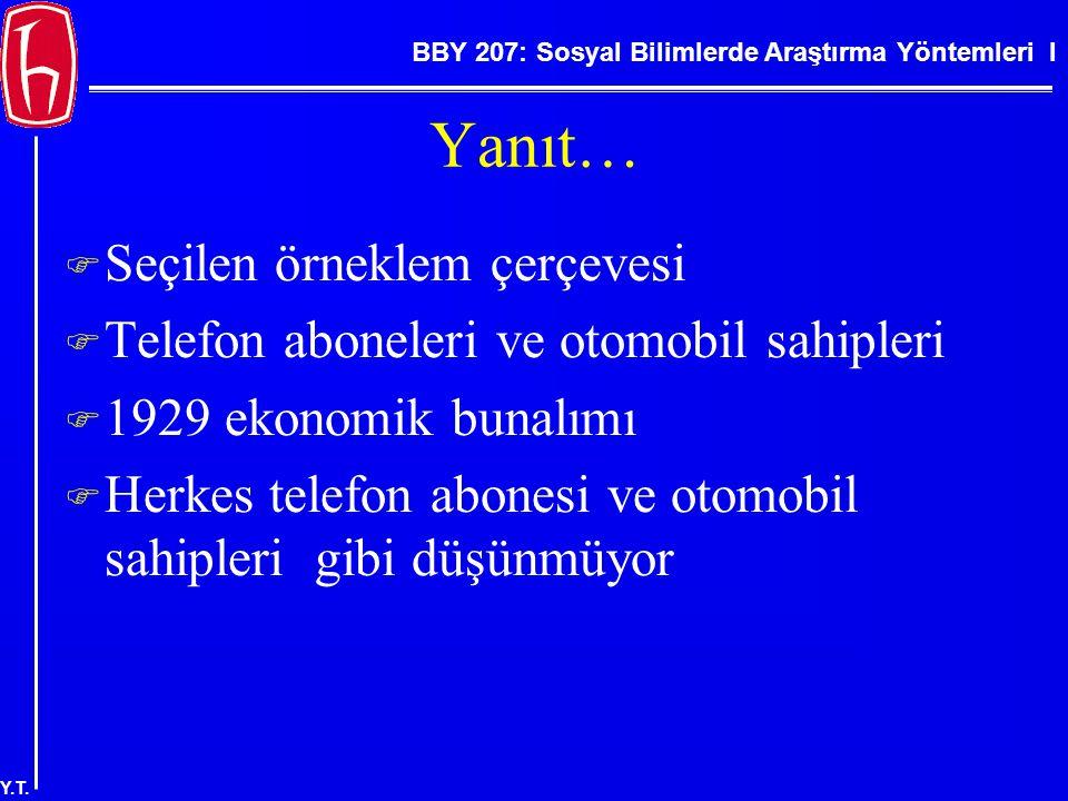 BBY 207: Sosyal Bilimlerde Araştırma Yöntemleri I Y.T. Yanıt…  Seçilen örneklem çerçevesi  Telefon aboneleri ve otomobil sahipleri  1929 ekonomik b
