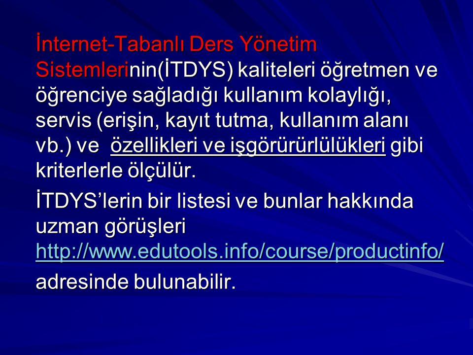 İnternet-Tabanlı Ders Yönetim Sistemlerinin(İTDYS) kaliteleri öğretmen ve öğrenciye sağladığı kullanım kolaylığı, servis (erişin, kayıt tutma, kullanı