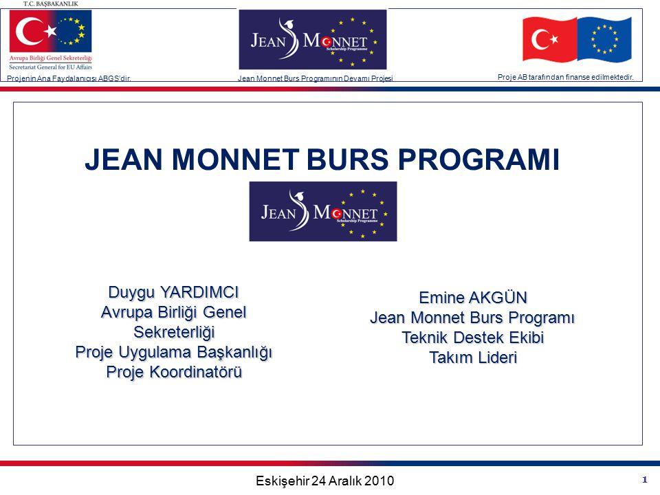 1 Projenin Ana Faydalanıcısı ABGS'dir.Jean Monnet Burs Programının Devamı Projesi Proje AB tarafından finanse edilmektedir.