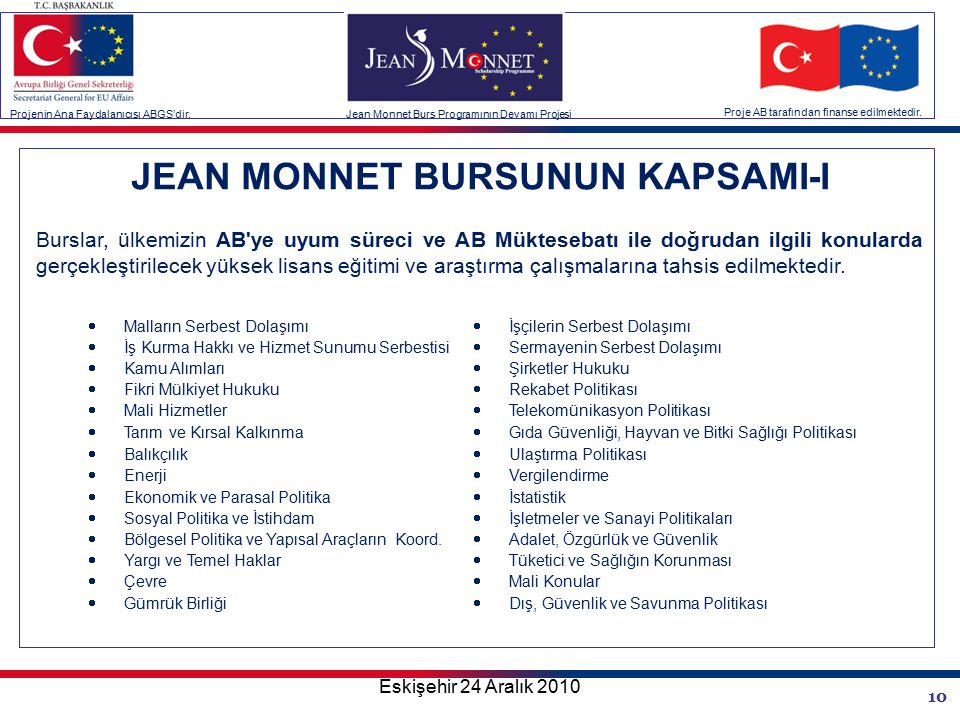 10 JEAN MONNET BURSUNUN KAPSAMI-I Burslar, ülkemizin AB ye uyum süreci ve AB Müktesebatı ile doğrudan ilgili konularda gerçekleştirilecek yüksek lisans eğitimi ve araştırma çalışmalarına tahsis edilmektedir.