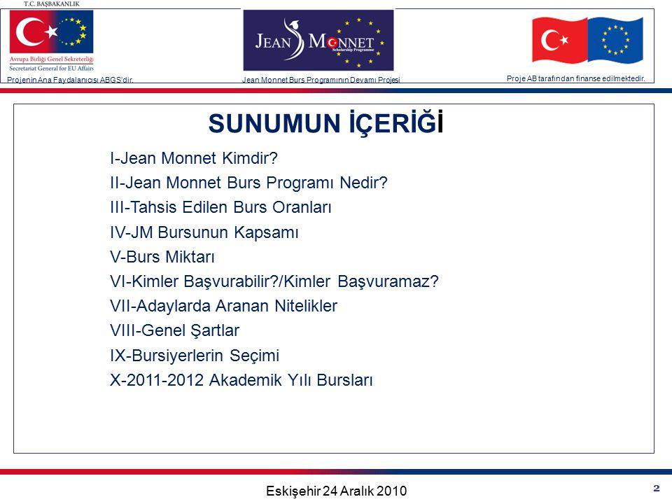 2 SUNUMUN İÇERİĞİ I-Jean Monnet Kimdir. II-Jean Monnet Burs Programı Nedir.