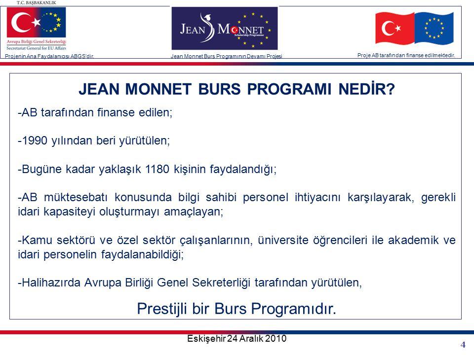 4 Projenin Ana Faydalanıcısı ABGS'dir.Jean Monnet Burs Programının Devamı Projesi Proje AB tarafından finanse edilmektedir.