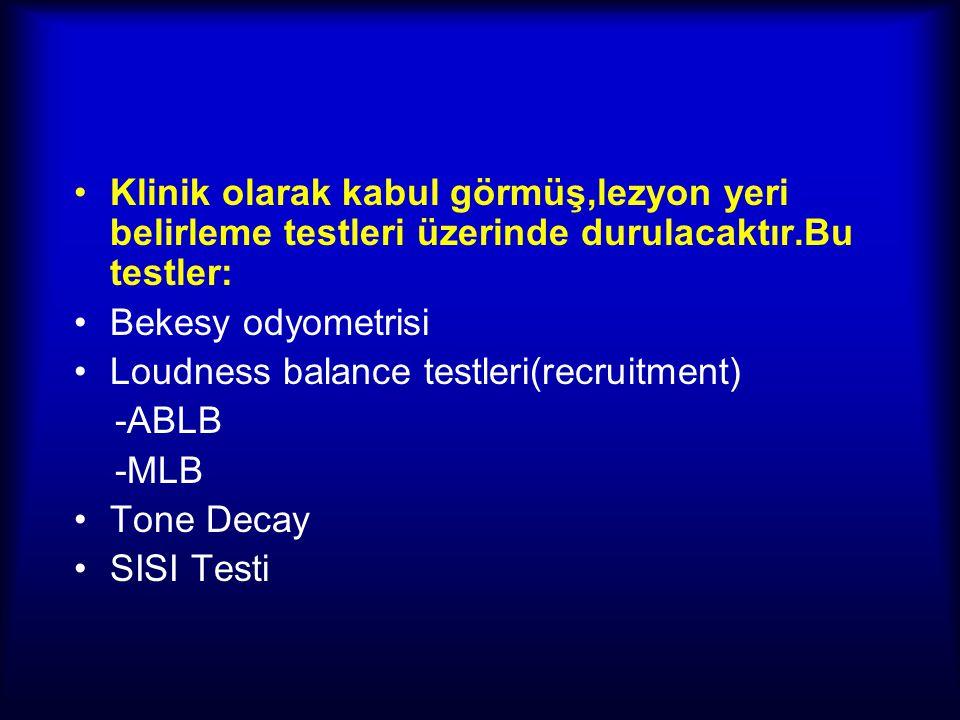 MLB(Manuel Loudness Balance) Testi:  Tek kulakta 2 farklı frekans arasındaki recruitment miktarı ölçülür.