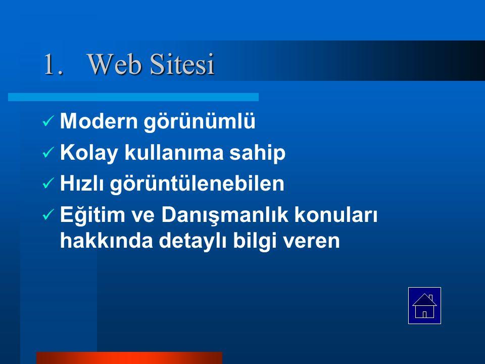 Sistem Mimarisi 1.Eğitim ve Danışmanlık bilgilerinin sunulduğu web sitesi, 2.